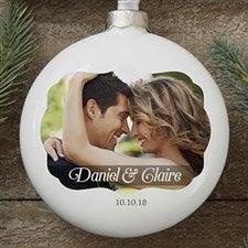 Personalized Wedding Day Photo Globe Christmas Ornament - 16386