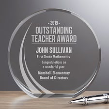 Personalized Premium Crystal Award - Outstanding Teacher - 16401