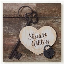 Personalized Romantic Canvas Print - Key To My Heart - 16433