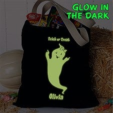 Personalized Halloween Treat Bag - Glow-In-The-Dark Ghost - 16435