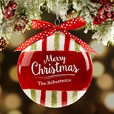 Personalized Glass Ornaments - Merry Christmas Stripes - 16448