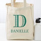 Personalized Petite Tote Bag - Striped Monogram - 16454