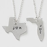 Personalized State Necklace - States For Sweethearts - 16466D