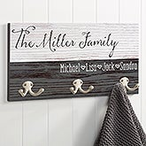 Personalized 3-Hooks Coat Hanger - Rustic Family Love - 16479
