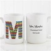 Crayon Letter Personalized Teacher Coffee Mug 15 oz.- White - 10034-L