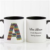 Crayon Letter Personalized Teacher Coffee Mug 11oz.- Black - 10034-B