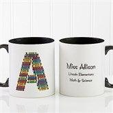 Crayon Letter Personalized Teacher Coffee Mug 11oz.- Black - 10034-B