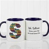 Crayon Letter Personalized Teacher Coffee Mug-11oz.- Blue - 10034-BL