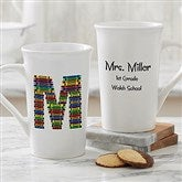 Crayon Letter Personalized Teacher Coffee Mug- 16oz. Latte - 10034-U
