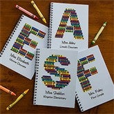 Crayon Letter Personalized Mini Notebook Set of 4 - 10099