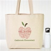 Apple Scroll Personalized Teacher Tote Bag - 10200