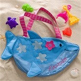 Embroidered Dolphin Beach Tote & Toy Set - 10309