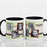 Any Message Photo Collage Personalized Mug 11 oz.- Black - 10382-B