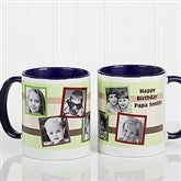 Any Message Photo Collage Personalized Mug 11 oz.- Blue - 10382-BL