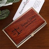 The Law Office© Personalized Rosewood Business Card Case - 10403
