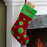 Embroidered Red Polka Dot Christmas Stocking - 10408-R