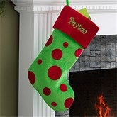 Embroidered Green Polka Dot Christmas Stocking - 10408-G
