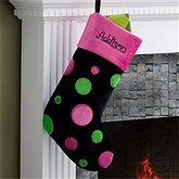 Embroidered Trendy Black Polka Dot Christmas Stocking - 10409-B