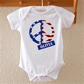 Patriotic Peace Personalized Baby Bodysuit - 10454-BB