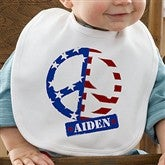 Patriotic Peace Personalized Bib - 10454-B