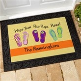 Wipe Your Flip Flops Here Personalized Recycled Rubber Back Doormat - 10545-S