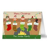 Stocking Family Characters Personalized Christmas Cards - 10556-C