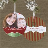Classic Holiday Personalized Hanging Photo Ornament Cards - 10584