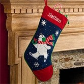 Winter Charm Embroidered Polar Bear Needlepoint Stocking - 10602-PB