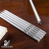 Personalized 6-Piece Pencil Set With Clear Swarovski® Stones - 10645-C