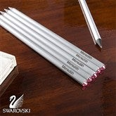 Personalized 6-Piece Pencil Set With Pink Swarovski® Stones - 10645-P