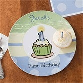 First Birthday Boy Personalized Melamine Plate - 10861D-P