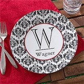 Damask Monogram Personalized Melamine Plate - 10864D-P