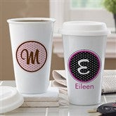 Polka Dot Monogram Personalized Reusable Travel Tumbler - 10882