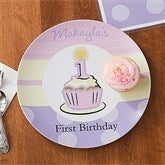 First Birthday Girl Personalized Melamine Plate - 10929D-P