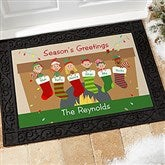 Stocking Family Characters Personalized Doormat- 18x27 - 10930