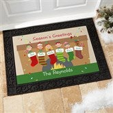 Stocking Family Characters Personalized Recycled Rubber Back Doormat - 10930