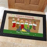 Stocking Family Characters Personalized Doormat- 20x35 - 10930-M