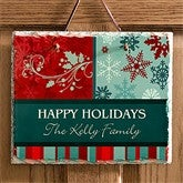 Happy Holidays Personalized Slate Plaque - 10964