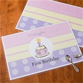 First Birthday Girl Personalized Laminated Placemat - 10980