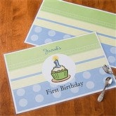 First Birthday Boy Personalized Laminated Placemat - 10981