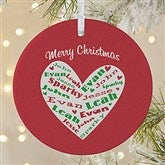 1-Sided Heart Of Love Personalized Ornament- Large - 10987-1L