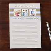 Classy Stripes Personalized Three Photo Notepad - 11222-T
