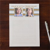 Classy Stripes Personalized Two Photo Notepad - 11222-TW