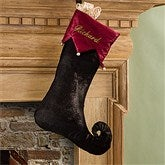 Harlequin Holiday Embroidered Stocking- Velvet Espresso - 11227-E