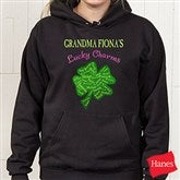 Grandma's Lucky Charms Personalized Black Hooded Sweatshirt - 11304-BS