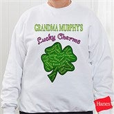 Grandma's Lucky Charms Personalized White Adult Sweatshirt - 11304-SS