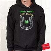 Grandpa's Lucky Charms Personalized Black Hooded Sweatshirt - 11305-BS