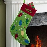 Christmas Lights Embroidered Stocking - 11329-L
