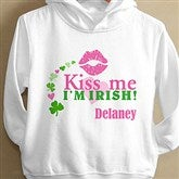 Kiss Me I'm Irish!© Personalized White Toddlers Hooded Shirt - 11424-THS