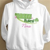 Green Rules!© Personalized Toddlers Hooded Sweatshirt - 11425-THS